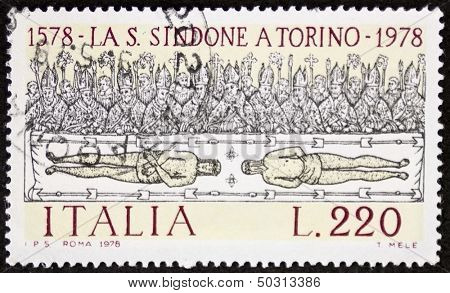 ITALY - CIRCA 1978: a stamp printed in Italy shows the Shroud of Turin, believed to be the burial shroud of Jesus Christ. Italy, circa 1978
