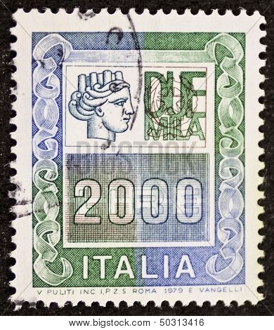 ITALY - CIRCA 1979: a stamp printed in Italy shows Italia Turrita and the indication of an high monetary value. Italy, circa 1979