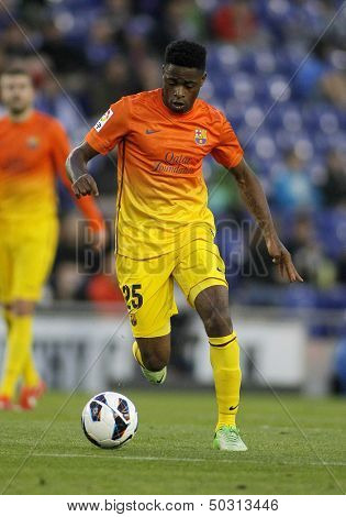 BARCELONA - MAY, 26: Alex Song of FC Barcelona during the Spanish League match between Espanyol and FC Barcelona at the Estadi Cornella on May 26, 2013 in Barcelona, Spain