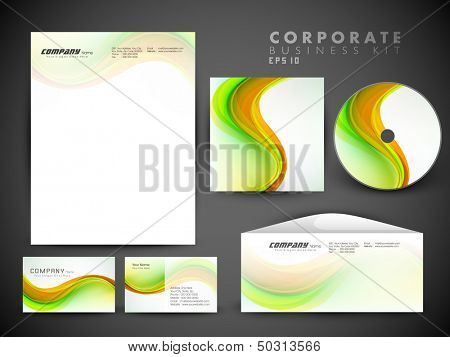 Professional corporate identity kit or business kit with artistic, abstract wave effect for your business includes CD Cover, Business Card, Envelope and Letter Head Designs.
