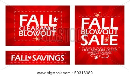 Fall clearance sale banners.