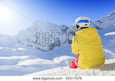 Winter, ski - woman enjoying winter on ski vacation