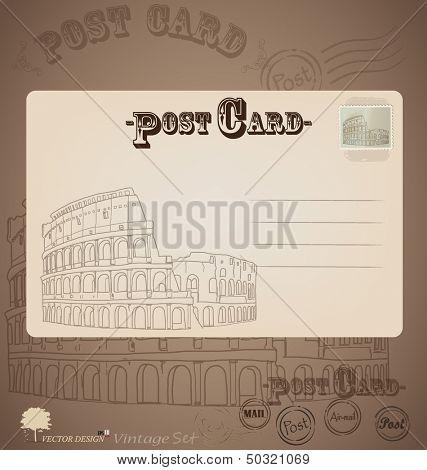 Vintage postcard designs. Vector illustration.