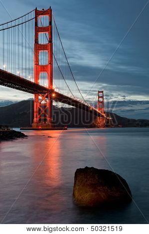 Golden Gate Bridge At Dusk