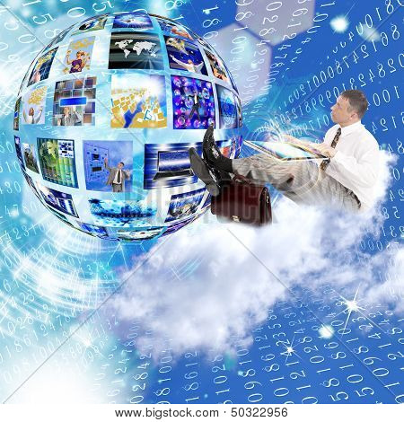 Businessman on the cloud. Internet concept.