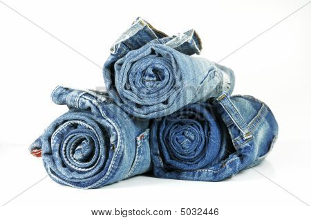Rolled Up Washed-out Blue Jeans