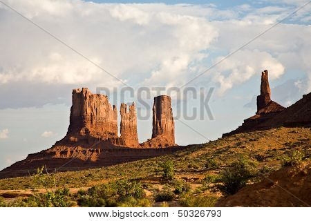 Stagecoach And Bear & Rabbit   Are Giant Sandstone Formation In The Monument Valley