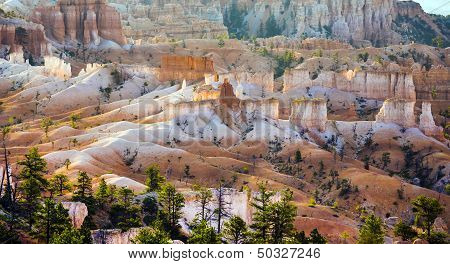 Beautiful Landscape In Bryce Canyon With Magnificent Stone Formation Like Amphitheater, Temples, Fig