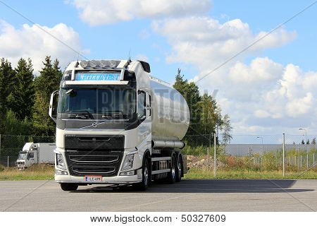 White Volvo Tank Truck For Food Transport