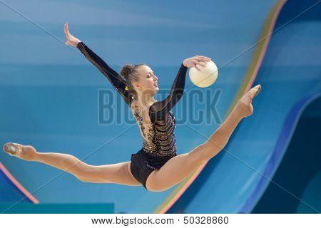 KIEV, UKRAINE - AUGUST 28: Ganna Rizatdinova of Ukraine in action during the 32nd Rhythmic Gymnastics World Championships in Kiev, Ukraine on August 28, 2013