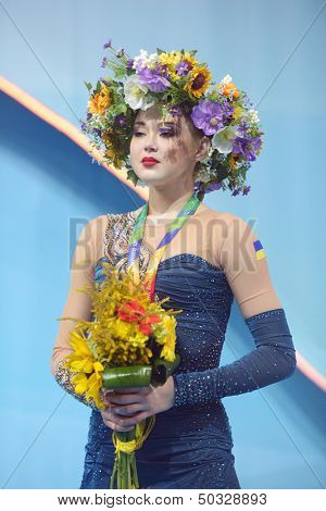 KIEV, UKRAINE - AUGUST 29: Alina Maksymenko of Ukraine win bronze during the 32nd Rhythmic Gymnastics World Championships in Kiev, Ukraine on August 29, 2013