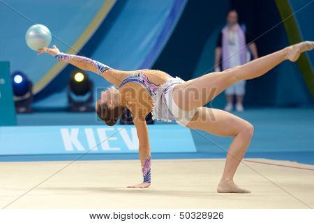 KIEV, UKRAINE - AUGUST 28: Silviya Miteva of Bulgaria in action during the 32nd Rhythmic Gymnastics World Championships in Kiev, Ukraine on August 28, 2013