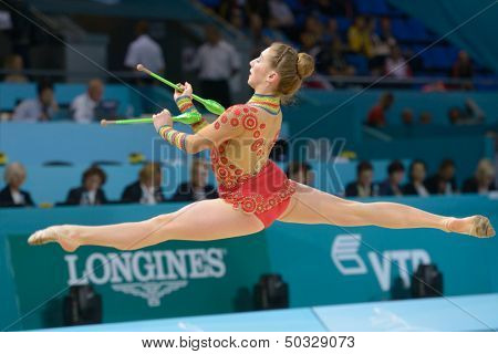 KIEV, UKRAINE - AUGUST 29: Aimee van Rooyen of South Africa in action during the 32nd Rhythmic Gymnastics World Championships in Kiev, Ukraine on August 29, 2013