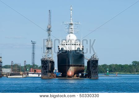 Ship in Baltiysk dry dock