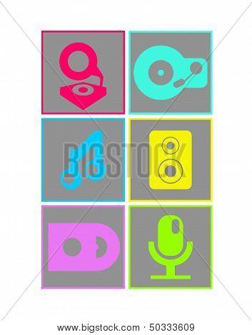 Neon music icons