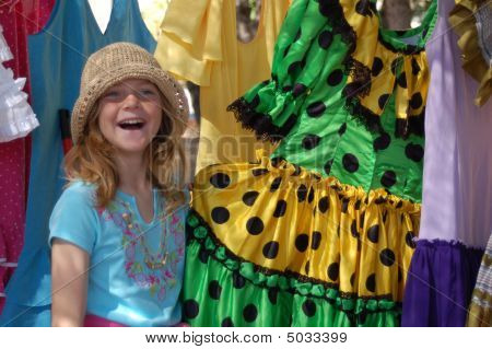 Girl Laughing At Polka Dot Dresses