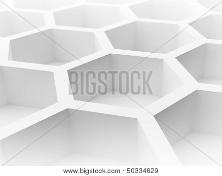 Abstract 3D Architecture Background With White Honeycomb Structure