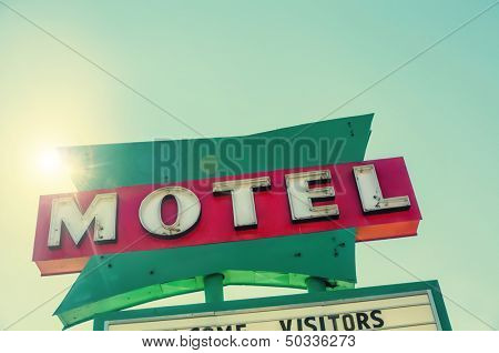 Retro classic road side Motel sign route 66, USA