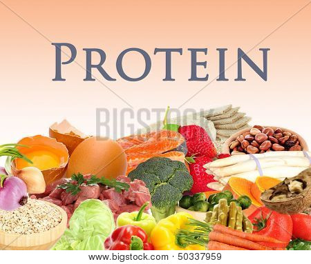 Collage of products containing protein