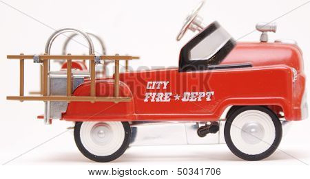 Vintage Toy Fire Truck Pedal Car with Ladders