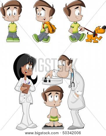 Cartoon boy with backpack, walking the dog and doctors checking boy's weight on weighing scale.