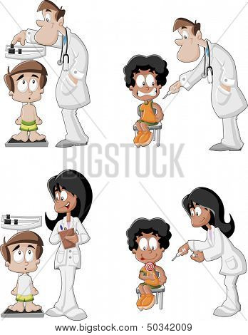 Cartoon doctors checking boy's weight on weighing scale and giving an injection in arm. Vaccinating, allergy or flu shot by syringe.