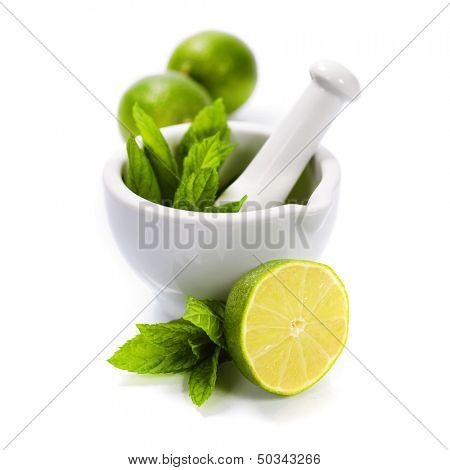 Ingredients for Caipirinha, Mojito Cocktails and other drinks