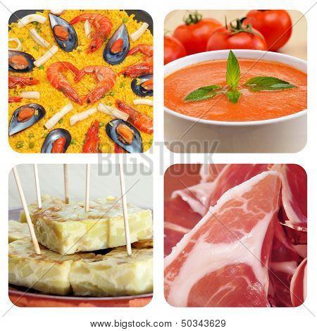 collage of some spanish dishes and tapas, such as paella, gazpacho, tortilla de patatas or jamon serrano