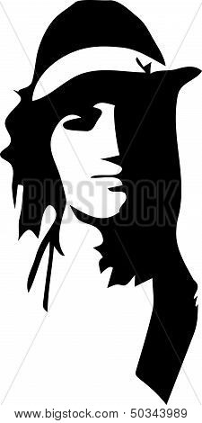 Vector black silhuette of a man hippy