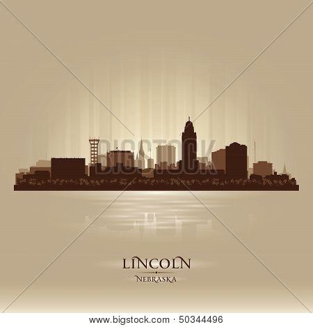 Lincoln Nebraska City Skyline Silhouette