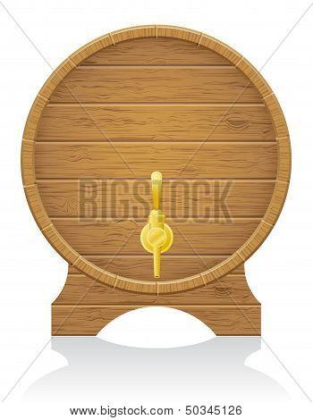 Wooden Barrel Vector Illustration