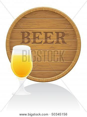 Wooden Beer Barrel And Glass Vector Illustration Eps10