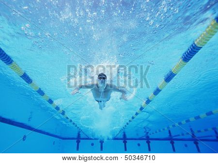 Underwater shot of male swimmer swimming in pool