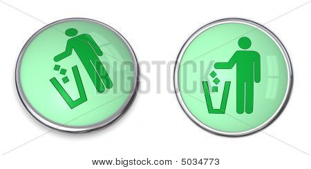 Button Man Uses Wastebin Pictogram