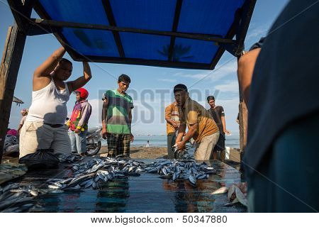 PADANG - AUGUST 25: Fishmongers wait for customers in a stall at an outdoor village market in Padang, West Sumatera, Indonesia on August 25, 2013. Resources from the sea is a major revenue earner.