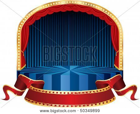 vector circle circus stage with blue curtain and red cinema banner