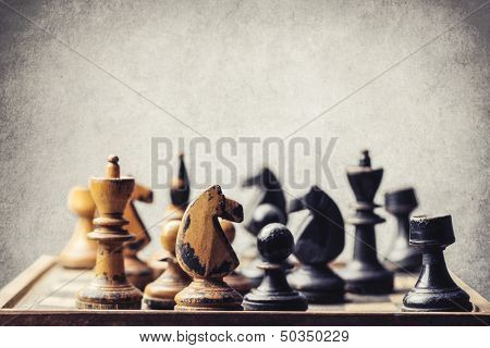 ancient wooden chess