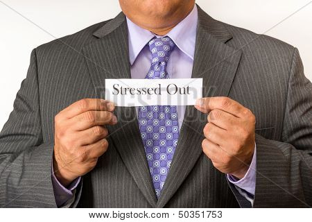 White Collar Holding a Stressed Out Sign