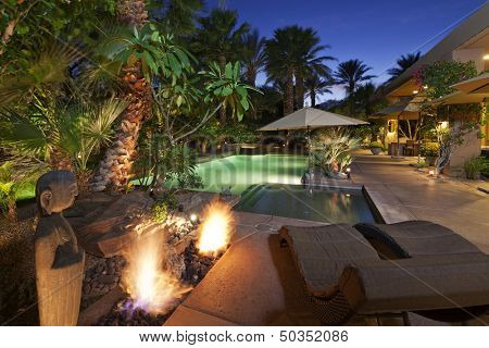 Luxury Villa at night time