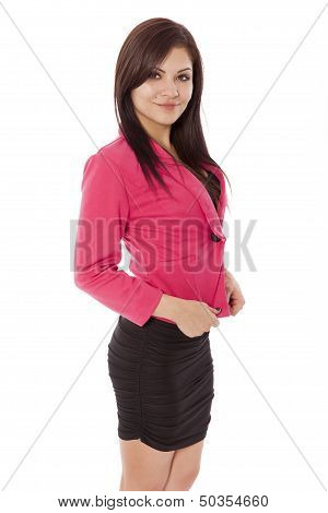 Pretty Woman In Business Clothes Pulls At Her Jacket.