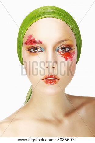 Quaintness & Eccentricity. Styled Woman's Face With Theatrical Makeup