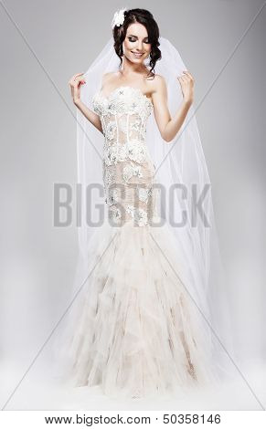 Expectation. Beautiful Jubilant Bride In White Wedding Dress
