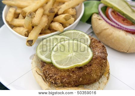 Crabcake Burger With French Fries Closeup Macro