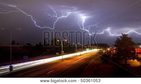 Rare Thunderstorm Producing Lightning Over Tacoma Washington I-5 South