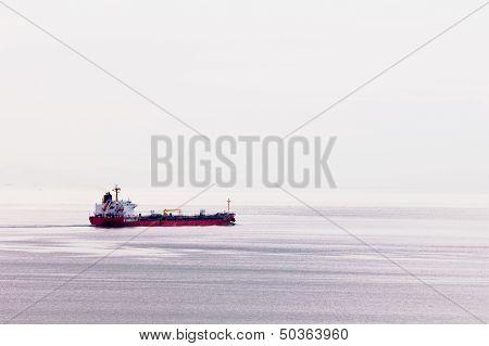 Oil Tanker Ship Transports Fossil Energy Overseas