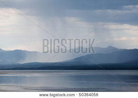 Rain Shower Over Marsh Lake Yukon Territory Canda