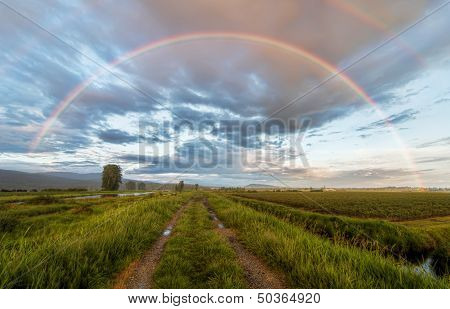 Dirt Road Under A Beautiful Rainbow