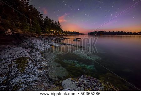 Rocky Coast At Night With Purple Sky