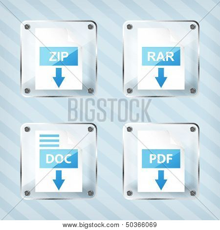 set of glass rar zip doc and pdf download icons on a striped background