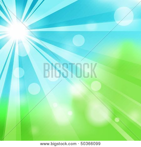 Natural green abstract background with sun and rays